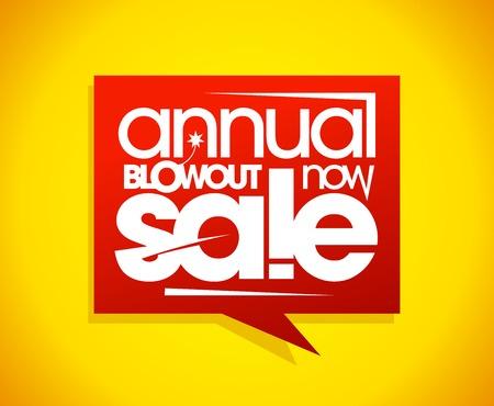 blowout: Annual blowout sale, speech bubble banner concept