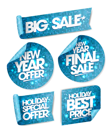 end of year: New year offer, new year final sale, holiday special offer, holiday best price, big sale stickers, winter holiday collection Illustration