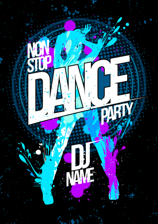 winter dance: Winter dance party design concept with dancing woman silhouette, pop-art style poster