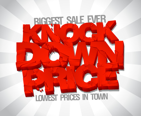 down town: Knock down price, lowest price in town, sale typographic design
