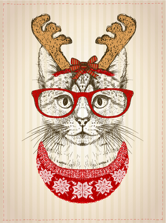 Vintage graphic poster with hipster cat with red glasses,  dressed in deer horns hat and red knitted sweater, new year card, christmas pet funny fashion illustration Vectores