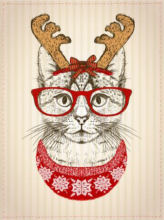 Vintage grafische poster met hipster kat met rode bril, gekleed in herten hoorns hoed en rode gebreide trui, nieuwjaarskaart, Kerstmis huisdier grappige mode illustratie