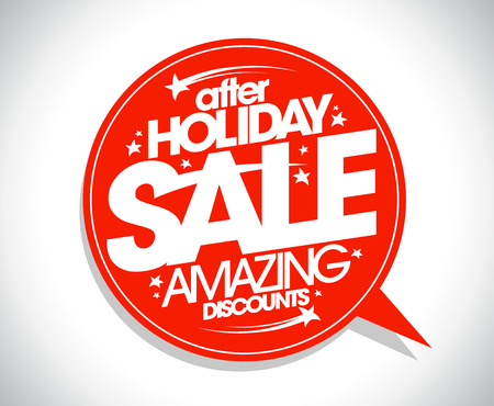 holiday symbol: After holiday sale, amazing discounts symbol with red speech bubble Illustration