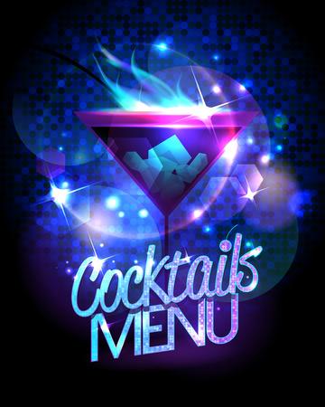 Cocktails Menü mit brennenden Cocktail und Disco funkelt glänzend Hintergrund Standard-Bild - 67688271