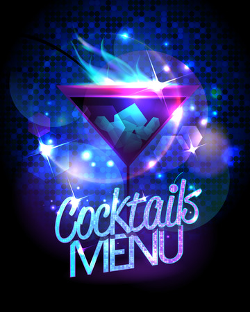 Cocktails menu with burning cocktail and disco sparkles shiny background