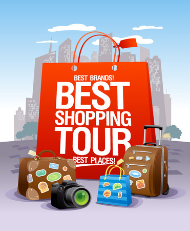 Best shopping tour design concept, big red paper bag, suitcases and camera, city skyscrapers on a backdrop, shopping tourism concept Vectores