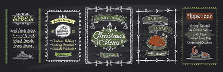 appetizers: Chalk Christmas menu blackboard designs set. Vector hand drawn illustration with holidays menu - desserts, sides, main dish, appetizer