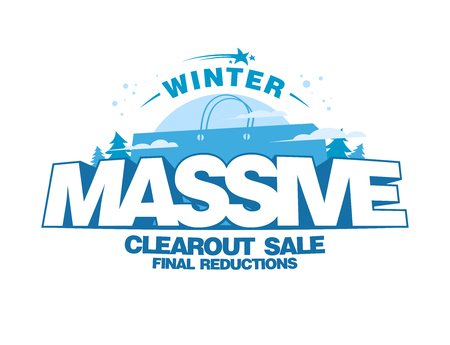 Massive winter clearout sale design with big shopping bag, final reductions Illustration