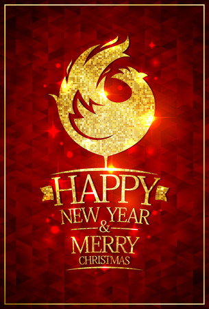 red hen: 2017 happy new year and merry Christmas card with rich golden rooster and golden text against deep red mosaic backdrop