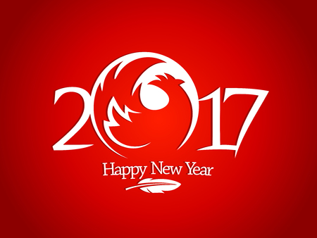 abstract fire: New year 2017 sign with red rooster silhouette and feather