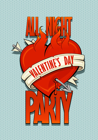 Valentines day party design concept, old school style burning heart, arrow and ribbon Illustration
