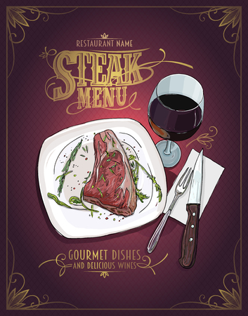 steak plate: Steak menu design with hand drawn graphic illustration of a fillet mignon steak on a plate and glass of wine