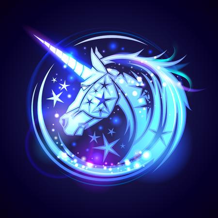 星と魔法のネオン輝く、ユニコーン ヘッドのロゴのコンセプト