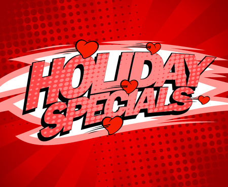specials: Holiday specials red design concept, sale poster with flying hearts, pop-art style