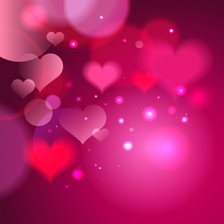romantic places: Abstract vector pink square backdrop with hearts and bokeh lights, suitable for Valentines day or other romantic card, copy space for text