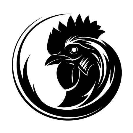 Art de tatouage tribal cercle coq Vecteurs