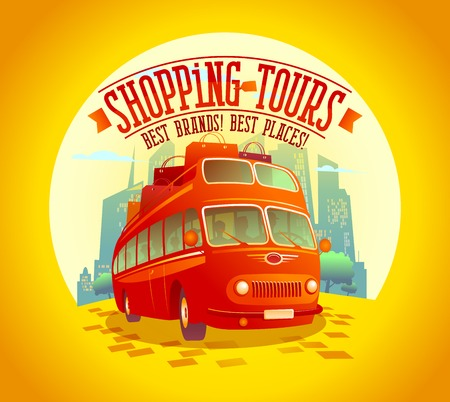 doubledecker: Best shopping tours design with riding double-decker bus and many paper bags on it, against sunset city background, fashion tourism