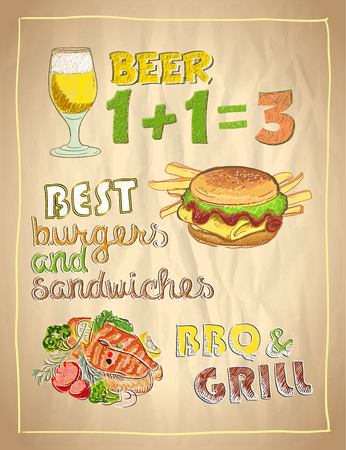grilled salmon: Hand drawn menu list on a paper with beer, burger and grilled salmon fish