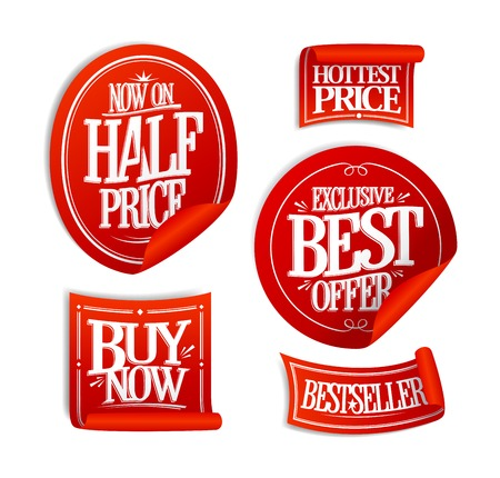 exclusive collection: Sale stickers set collection - half price, exclusive best offer, hottest price, buy now and best selller, retro style