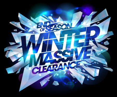 冬大規模なクリアランス セール デザイン、氷の爆発部分とバナー広告の季節の終わり