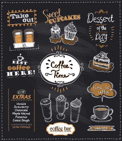 Coffee time chalkboard designs set for cafe or restaurant. Best coffee, desserts, extras, take out concepts collection,  hand drawn graphic illustration