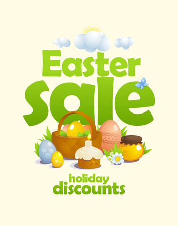 Easter sale vector design concept with basket and colored eggs, pastry, honey and flowers