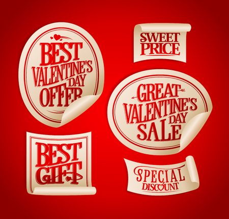 special price: Best Valentine`s day sale stickers set, vintage calligraphic style. Holiday offers, special discount, sweet price