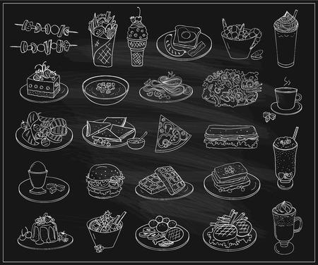 Hand getrokken lijn grafische illustratie van geassorteerde voedsel, desserts en drankjes, veel vegetarische voorgerechten. Vectordiesymbolen op een bordachtergrond worden geplaatst