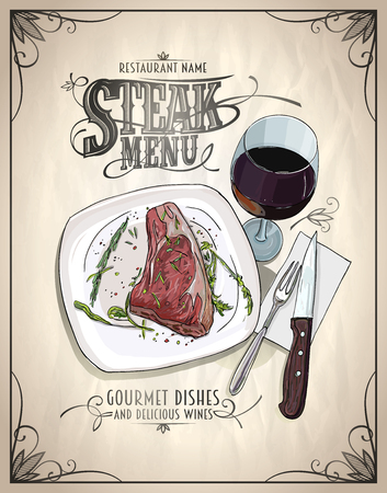Steak menu design concept with graphic illustration of a fillet mignon steak on a plate and glass of wine, vintage style
