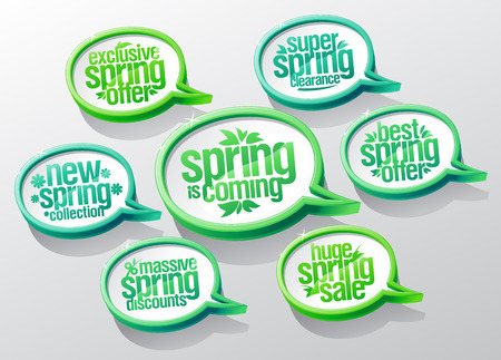 Spring is coming speech bubbles set, new spring collection, super clearance, best offer, mega savings, massive discounts, huge sale