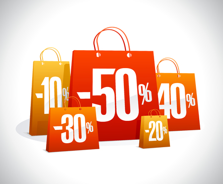Sale poster, many paper shopping bags with discount percents