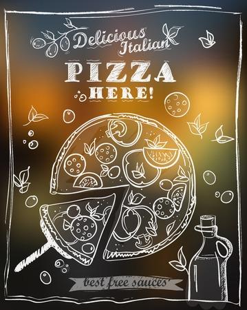 Delicious pizza menu design concept. Pizza with the cut off slice.