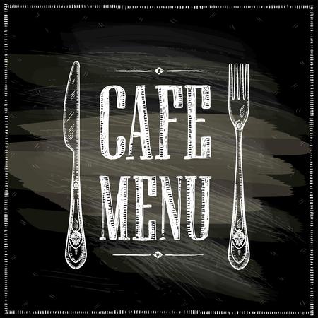 カフェ メニュー黒板手描きベクトル イラスト、レトロな刃物でビンテージ スタイル 写真素材 - 74476887