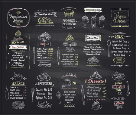 Vegetarian and vegan food chalkboard design set, hand drawn line graphic illustration with desserts and drinks, soups, salads, pizza and noodles, vector collection Ilustração