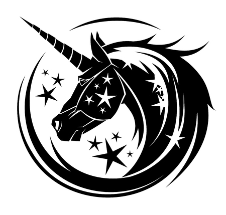 Unicorn head circle tattoo illustration with stars