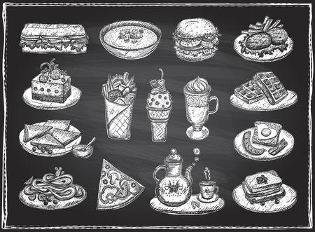 Chalk graphic illustration of assorted food, desserts and drinks, hand drawn vector symbols set on a chalkboard backdrop Illustration