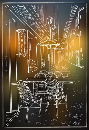 london night: Street cafe in night old town, hand drawn vector illustration