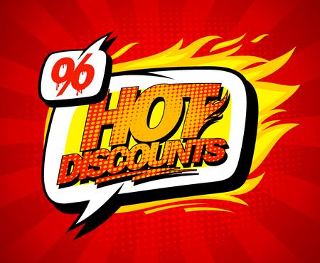 Hot discount verkoop illustratie in pop-art stijl, heldere rode achtergrond en speech bubble