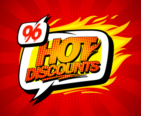 Hot discounts sale illustration in pop-art style, bright red backdrop and speech bubble