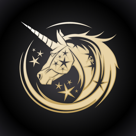 Golden unicorn head circle symbol with stars