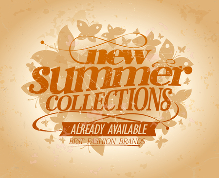 New summer collections vector design, best fashion brands, vintage style ad poster concept