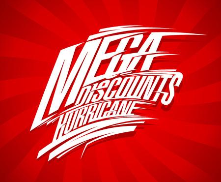 Mega discounts hurricane sale design concept