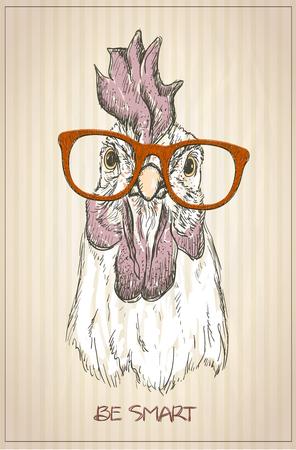 鶏やオンドリ グラフィック肖像画、正面、ビンテージ スタイルの図  イラスト・ベクター素材