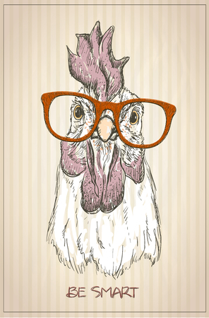 Hen or rooster graphic portrait, front view, vintage style illustration Ilustracja