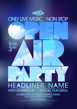 headliner: Open air party poster design concept, copy space for text