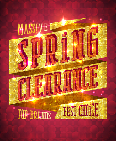 Massive spring clearance vector design concept, top brands, best choice, rich golden sale banner with sparkles