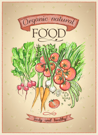 Organic natural food poster concept with assorted vegetables, farm fresh market hand drawn illustration, vintage style