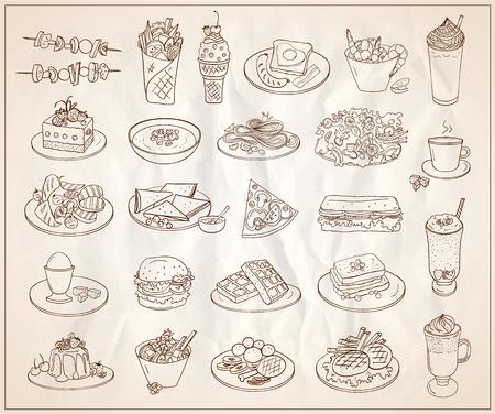各種食品、デザート、ドリンクの記号を手描き線図、多くのベジタリアン前菜  イラスト・ベクター素材