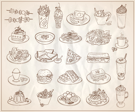 Hand drawn line graphic illustration with symbols of assorted food, desserts and drinks, many vegetarian entrees