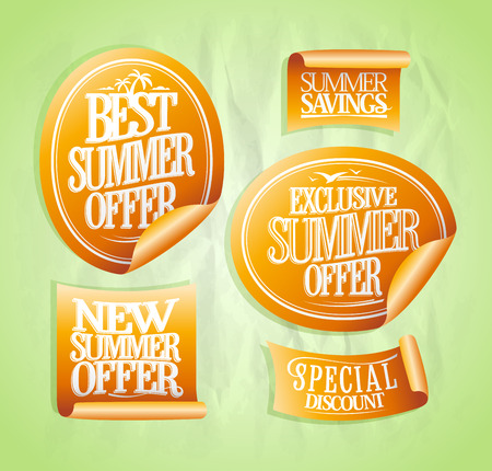 Summer sale stickers set, best offer, exclusive and new  offer, special discount, mega savings